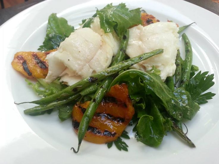 Poached Halibut with grilled peaches, If Slow, remove peaches. https ...