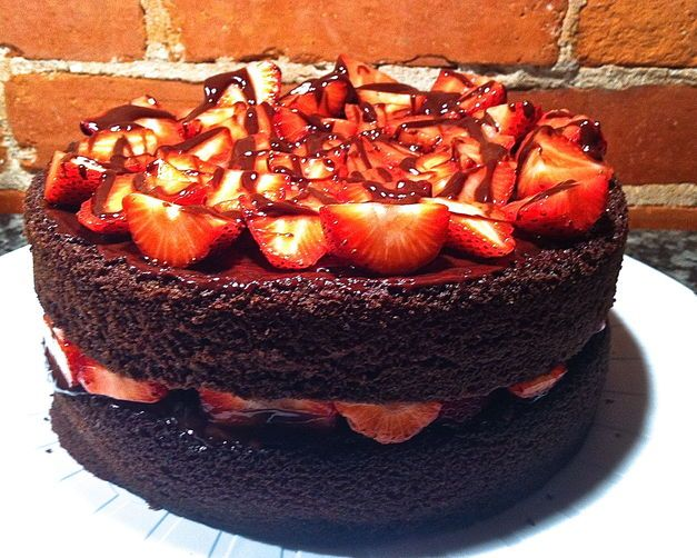 Devil's Food Cake with Strawberries and Chocolate Ganache | Recipe