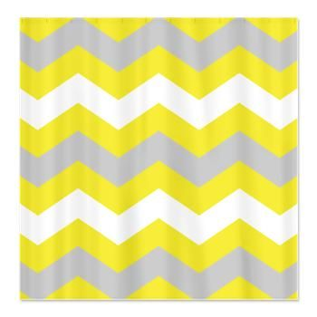 Yellow and grey chevron shower curtain shower curtains pinterest