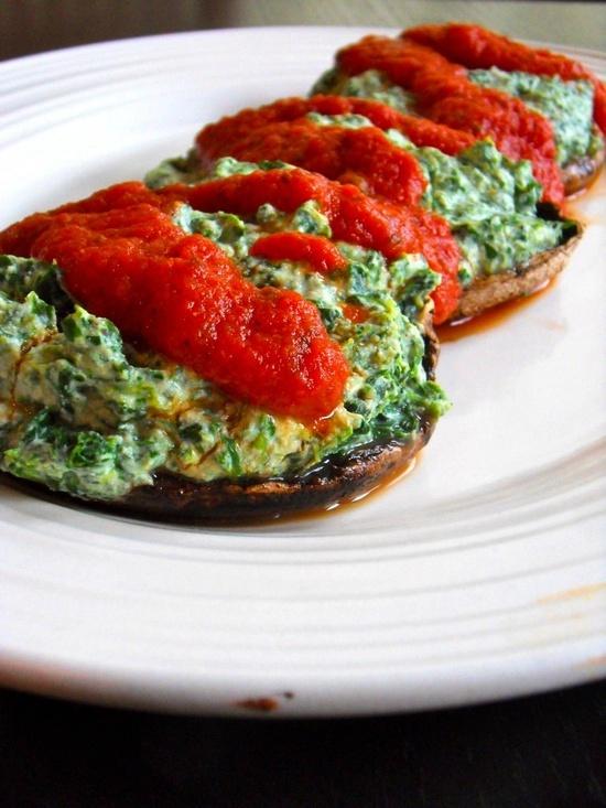 Spinach Stuffed Portobello Mushrooms | Food | Pinterest
