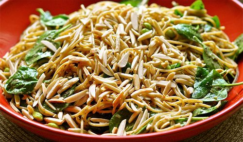 lemony pesto pasta with almonds, edamame and spinach