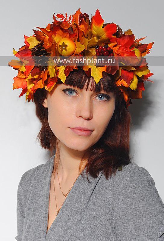 Ободок из осенних листьев на голову