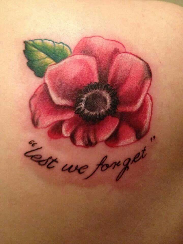 Lest We Forget Poppy Tattoo Designs