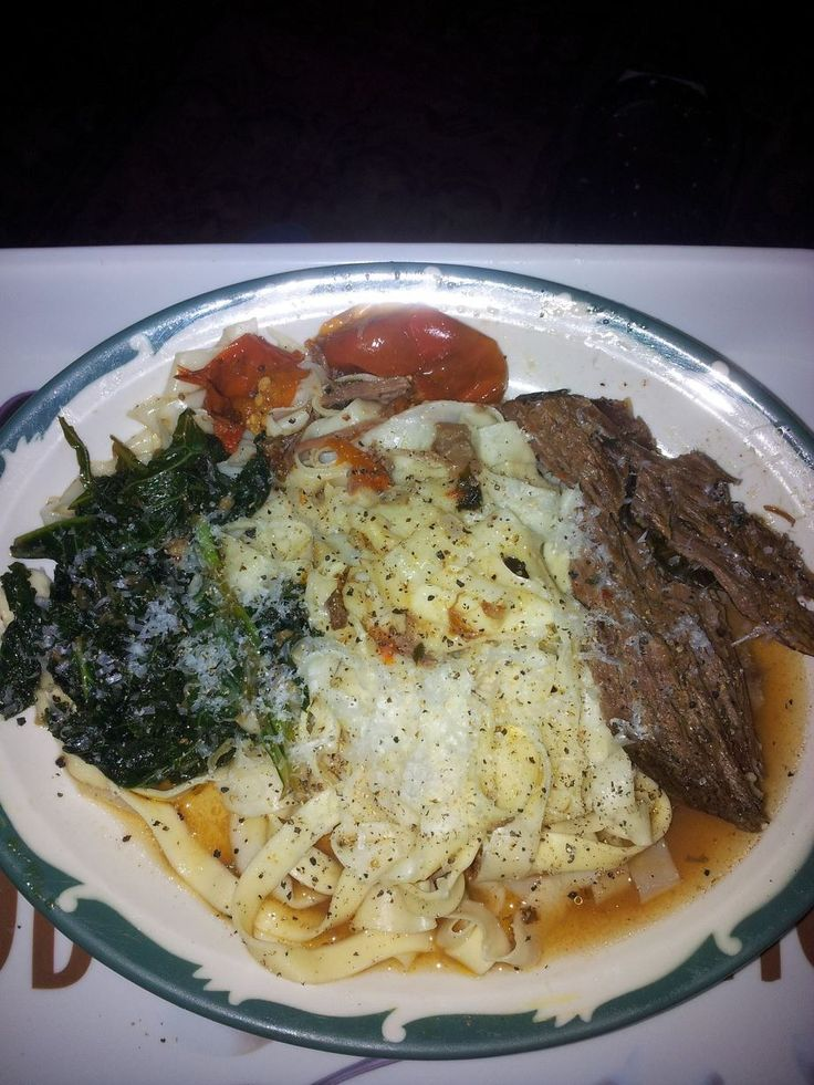 Italian style Pot Roast, braised kale and homemade fettuccine. MMMange ...