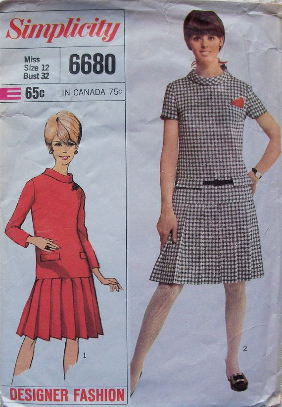 pleated skirt dress vintage simplicity pattern no 6680
