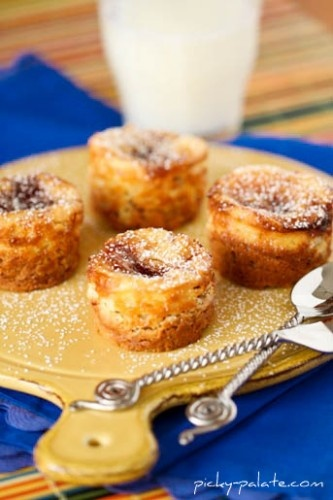 Peanut Butter Cookie Crusted Jelly Swirled Cheesecake Bites