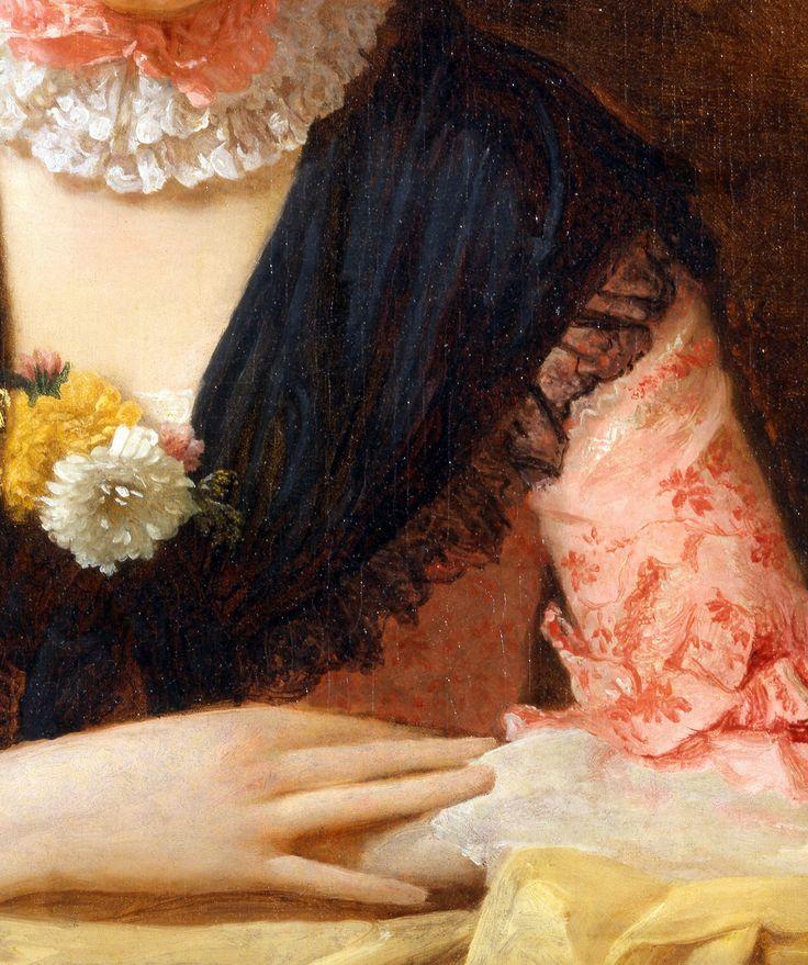 Allan Ramsay,Lady in a Pink Silk Dress,c.1762,detail.