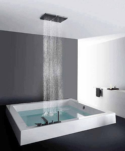 Indoor hot tub waterfall for the home pinterest for Indoor bathroom hot tubs