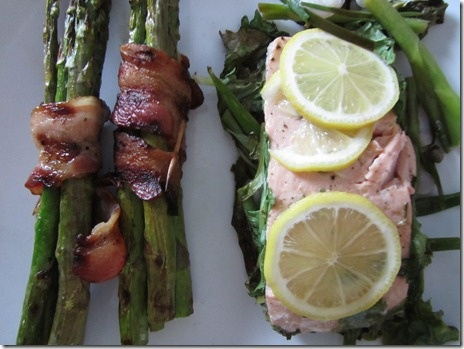 Grilled Salmon Packets with Bacon-Wrapped Asparagus Bundles!