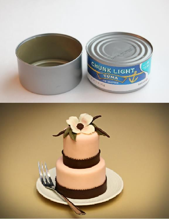 Baking mini cakes on tuna can. I know you will love this idea and much more that Jessica Harris has to offer.  http://jessicakesblog.blogspot.com.au/