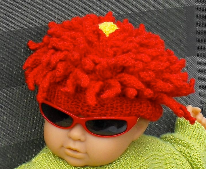 Knitting Pattern For Beanie With Flower : knitting pattern only-Baby Red Dahlia Flower Beanie Hat ...