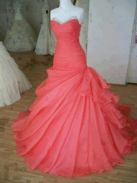 Coral pink wedding dress i need this www ericdress list