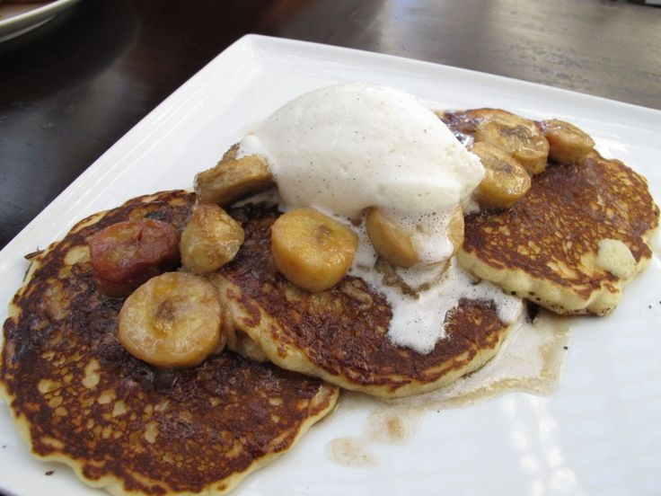 Pancakes with candied pecans, bourbon roasted bananas and maple cream ...