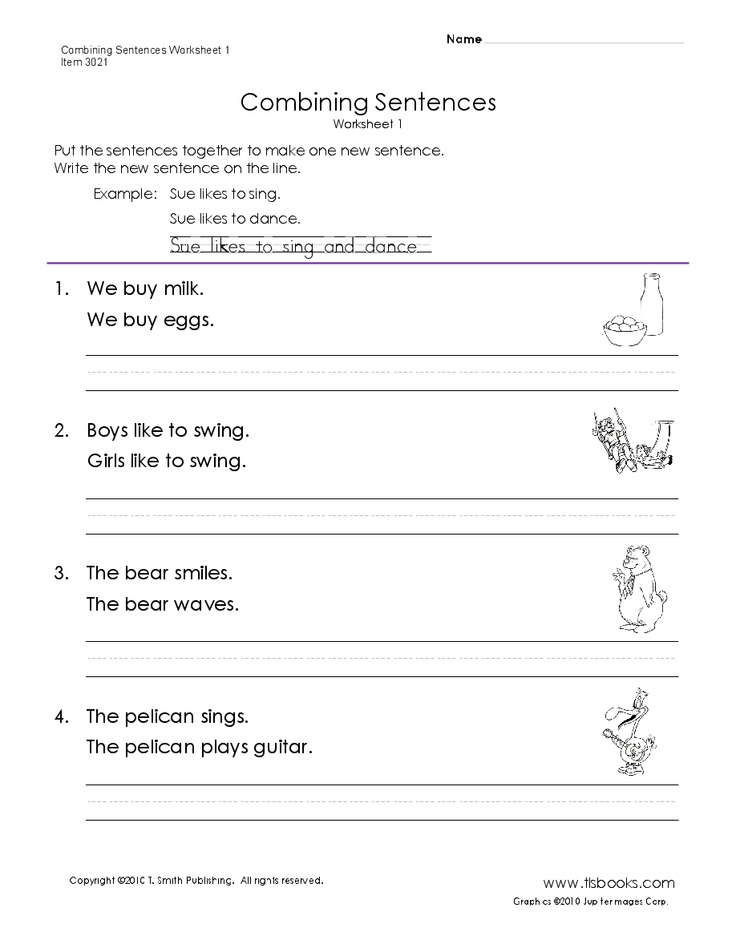 combining sentences worksheet 1 reading pinterest. Black Bedroom Furniture Sets. Home Design Ideas