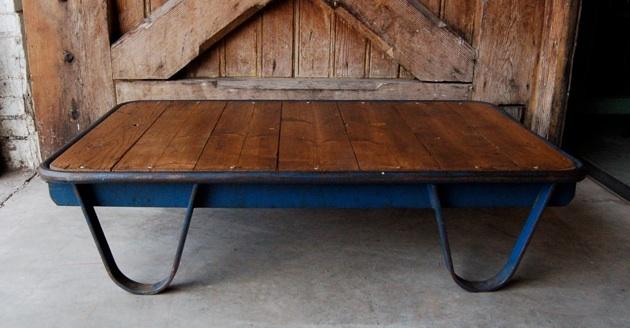 pallettafel blauw oude industriele vintage brocante antiek retro ...