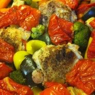 Skillet Roasted Chicken Thighs, Eggplant, Yellow Pepper, Broccoli ...