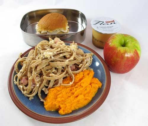 """: mashed """"potato"""" carrots; pasta carbonara; caramel flan; an apple ..."""