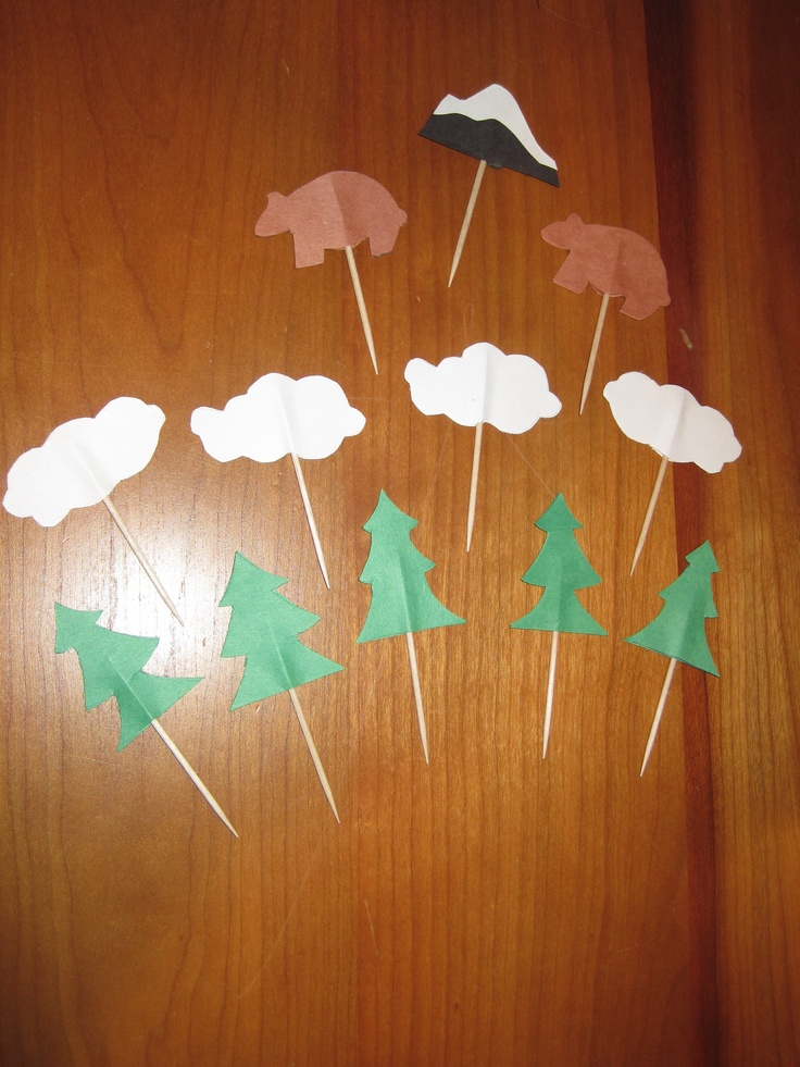 Construction paper + toothpicks = cupcake toppers on the cheap!