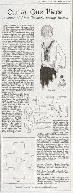 Miss Conover's blouse, 1921 | via blueprairie