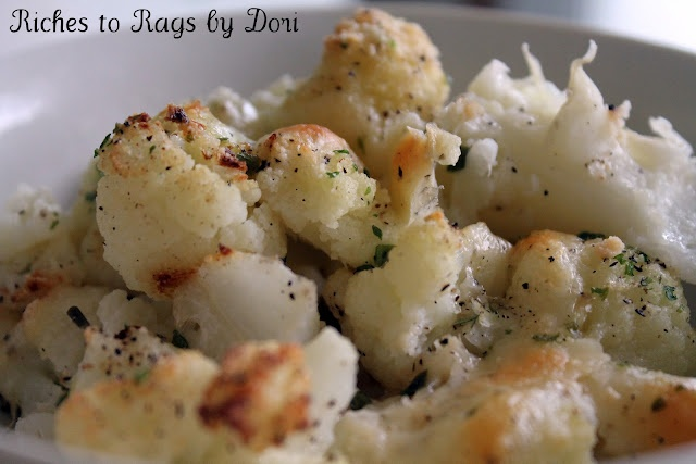 Baked Garlic Cheesy Cauliflower. On the skinny side and melts in your mouth. So good!