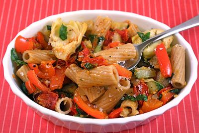 Pasta with Slow Roasted Tomatoes, Artichokes, Zucchini, and Roasted ...