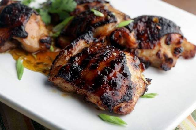 Chicken thighs with spicy apricot glaze in Detroit, on Wednesday ...