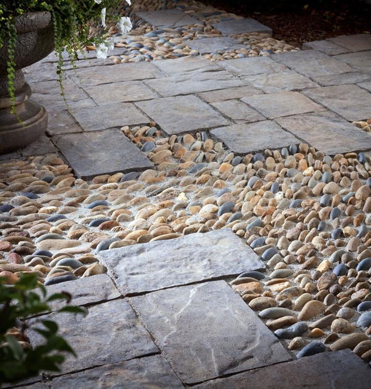 Landscaping Rock Walkways : Paver walkway with river rock garden