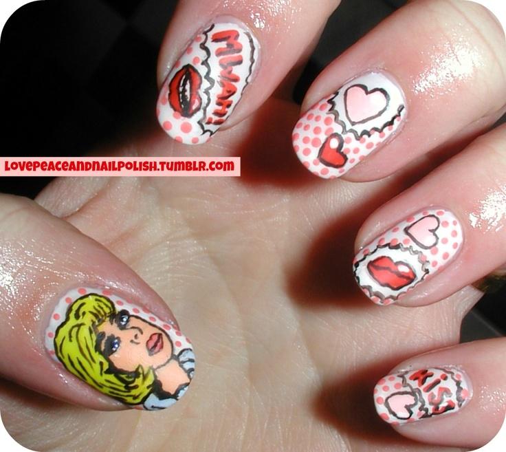 Pop art nails. Check out my tumblr: lovepeaceandnailpolish.tumblr.com