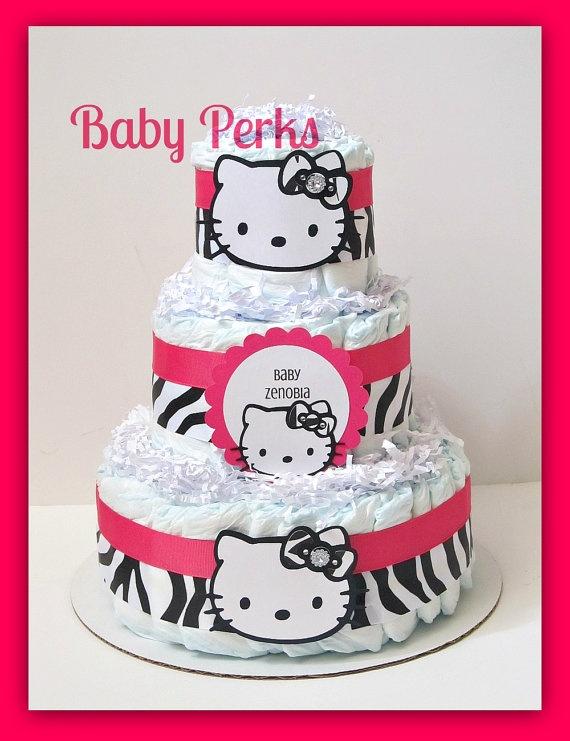 hello kitty diaper cake baby shower pinterest