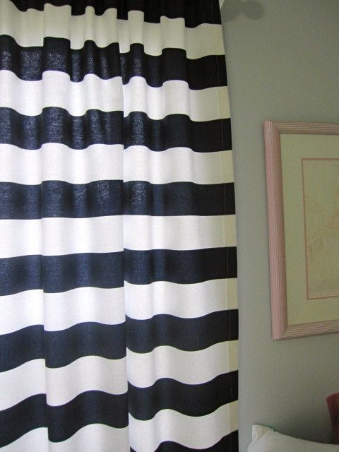 ... Curtains, Set of 2 Navy Blue and White Horizontal Stripe Curtain