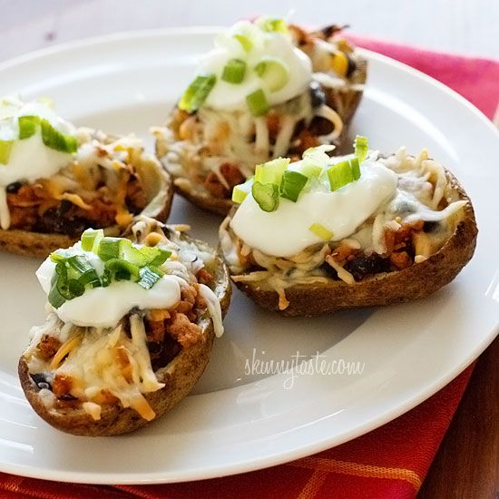 Loaded Turkey Santa Fe Baked Potato Skins | Recipe
