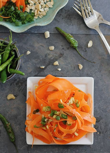 Shaved carrot salad with roasted chili pepper dressing | Recipe