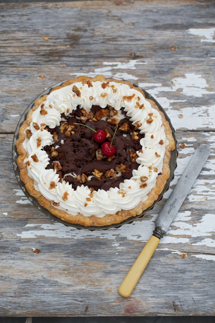 June Pie of the Month: Chocolate Sundae Pie topped with chopped pecans ...