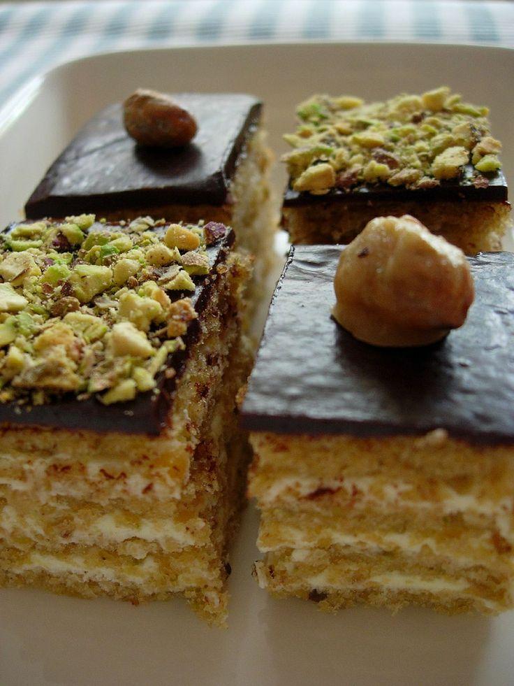 Chocolate Pistachios petit fours, opera cake style.