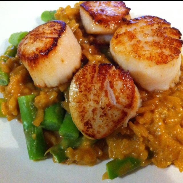 Seared scallops with asparagus risotto. | Food/ Beverage Recipes | Pi ...