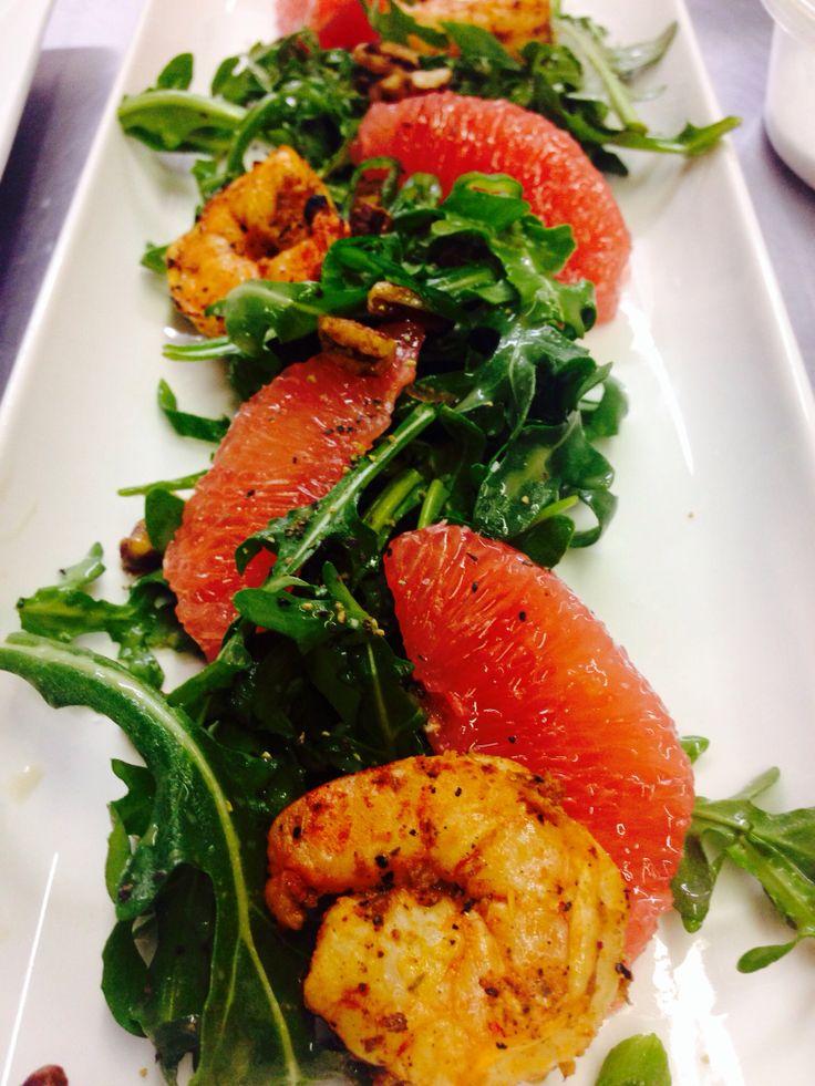 salad / arugula with grilled shrimp, candy pecans, grapefruit & fennel ...