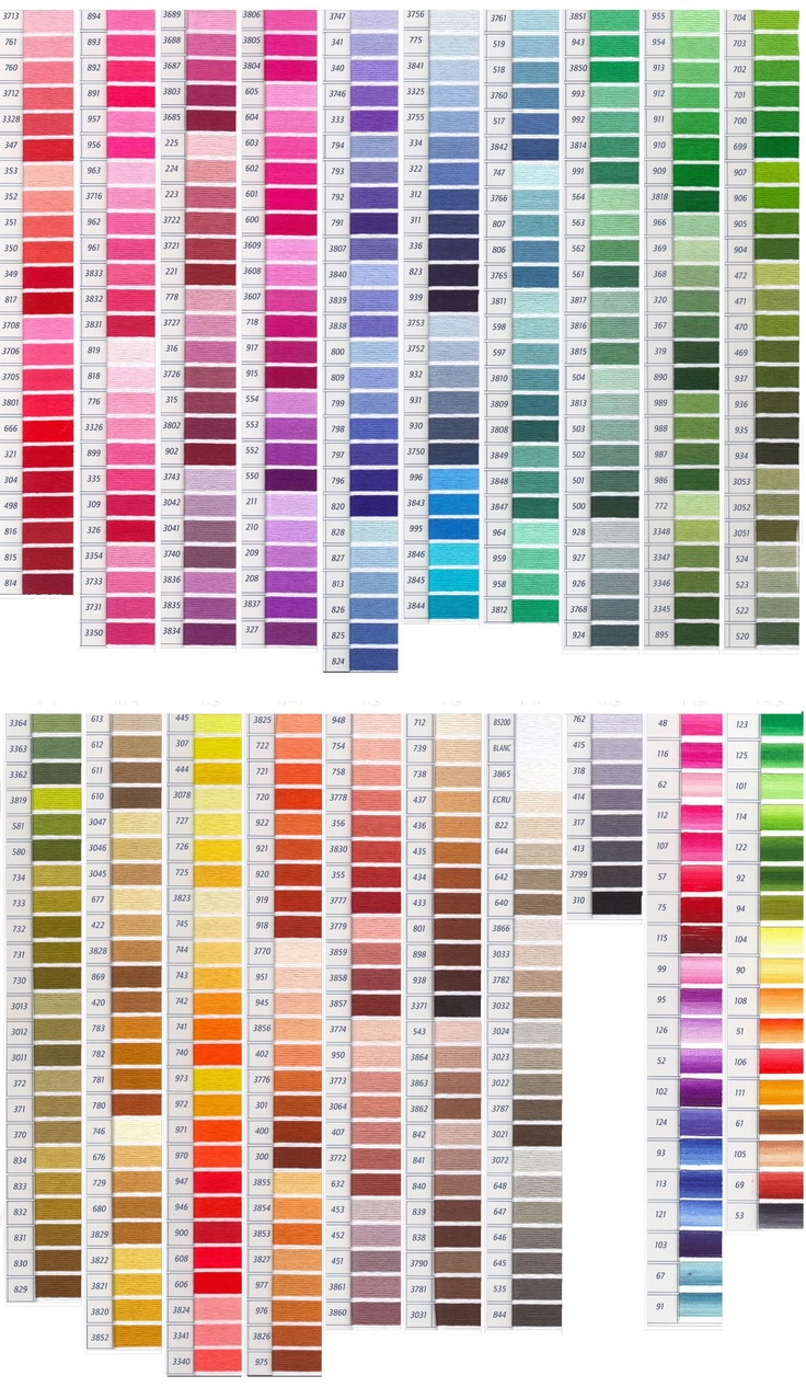 DMC Color Chart  Embroidery Floss Color Charts  Pinterest