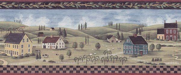 Wallpaper Borders R Us Farm Village Red