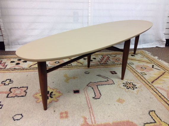 surf board coffee table mersman walnut painted top