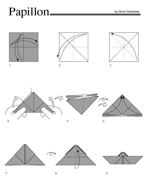 Origami papillon 1 origami et papier pinterest - Origami en papier facile ...