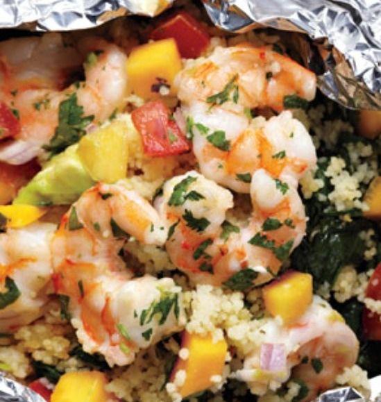 Shrimp With Avocado-Mango Salsa | receipt | Pinterest