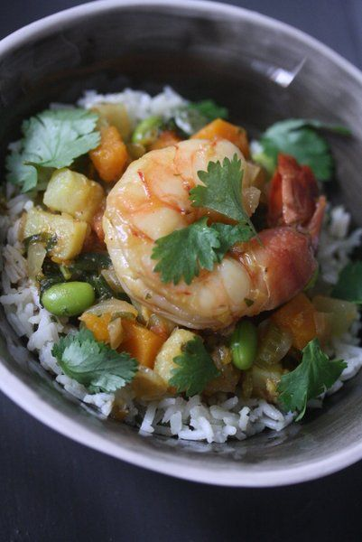African Peanut Stew with Shrimp and Butternut Squash. Sweet, spicy ...