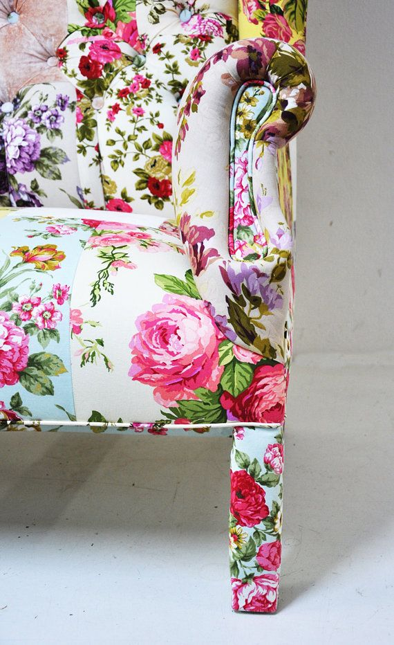 Custom order- floral Wing Back-patchwork sofa. $1,850.00, via Etsy.