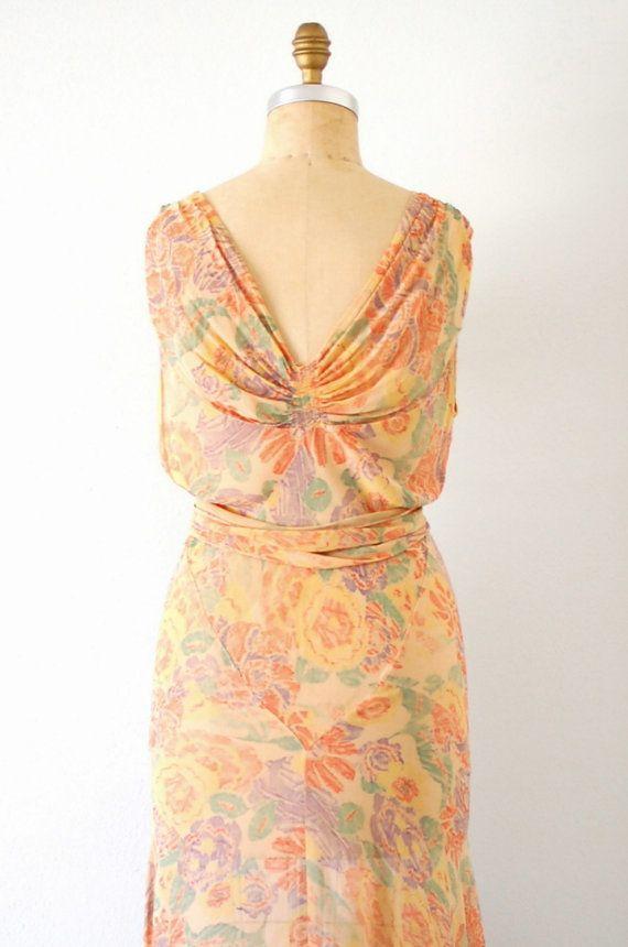 Vintage 30s Silk Print Bias Cut Long Garden Party Dress