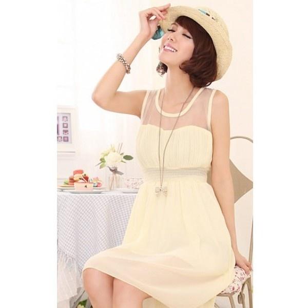 Beige Women Fashion Vest Chiffon Dresses One Size FZ70649be ($11) via