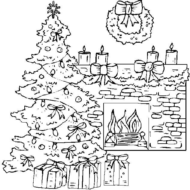 Fireplace At Christmas Coloring Pages