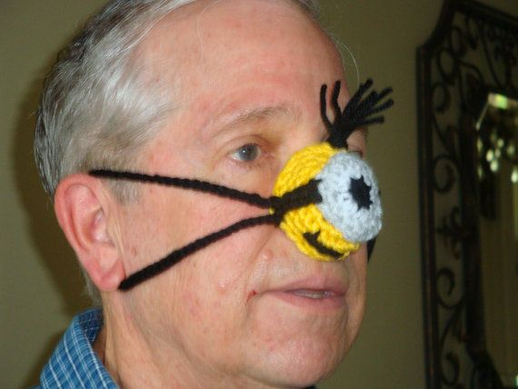 Crochet Nose Warmer : Ready to Ship Hand crocheted Nose Warmer, Minion inspired, Gag Gift ...