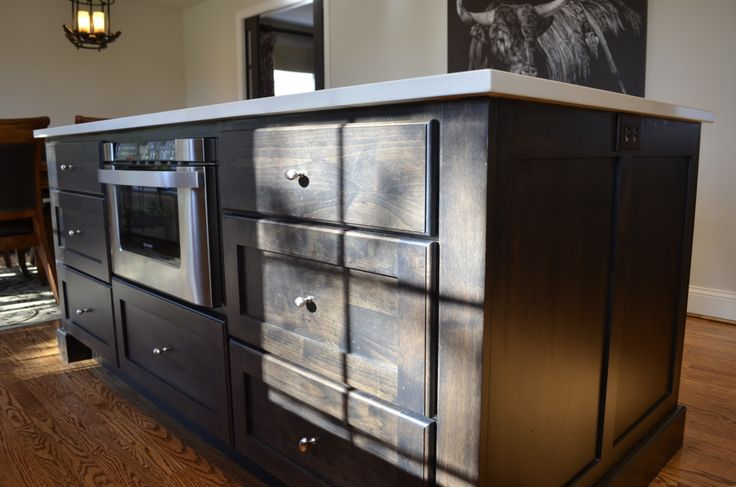kitchen island with microwave drawer where we cook