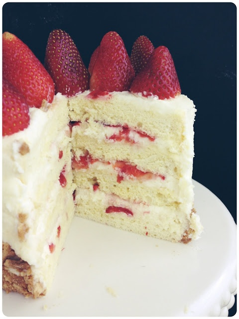 Strawberry Shortcake with mascarpone whipped frosting