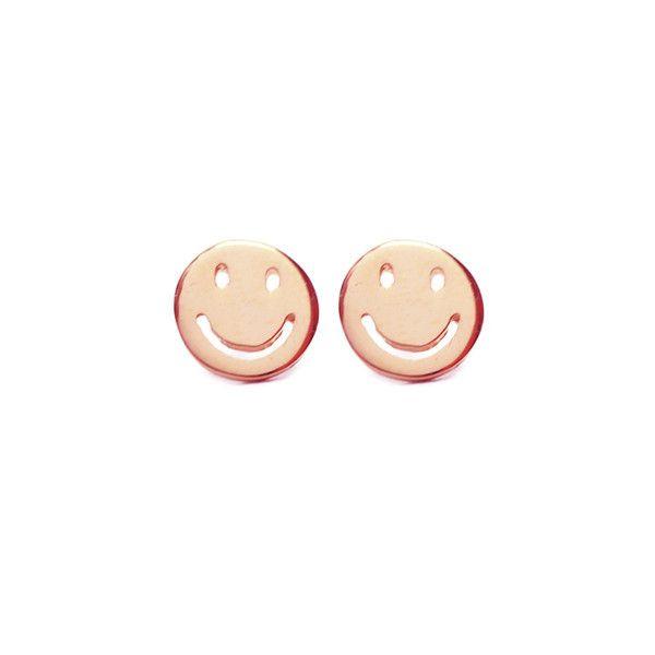 Rose Gold Vermeil Happy Smiley Stud Earrings